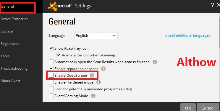 How to Disable deepscreen on avast