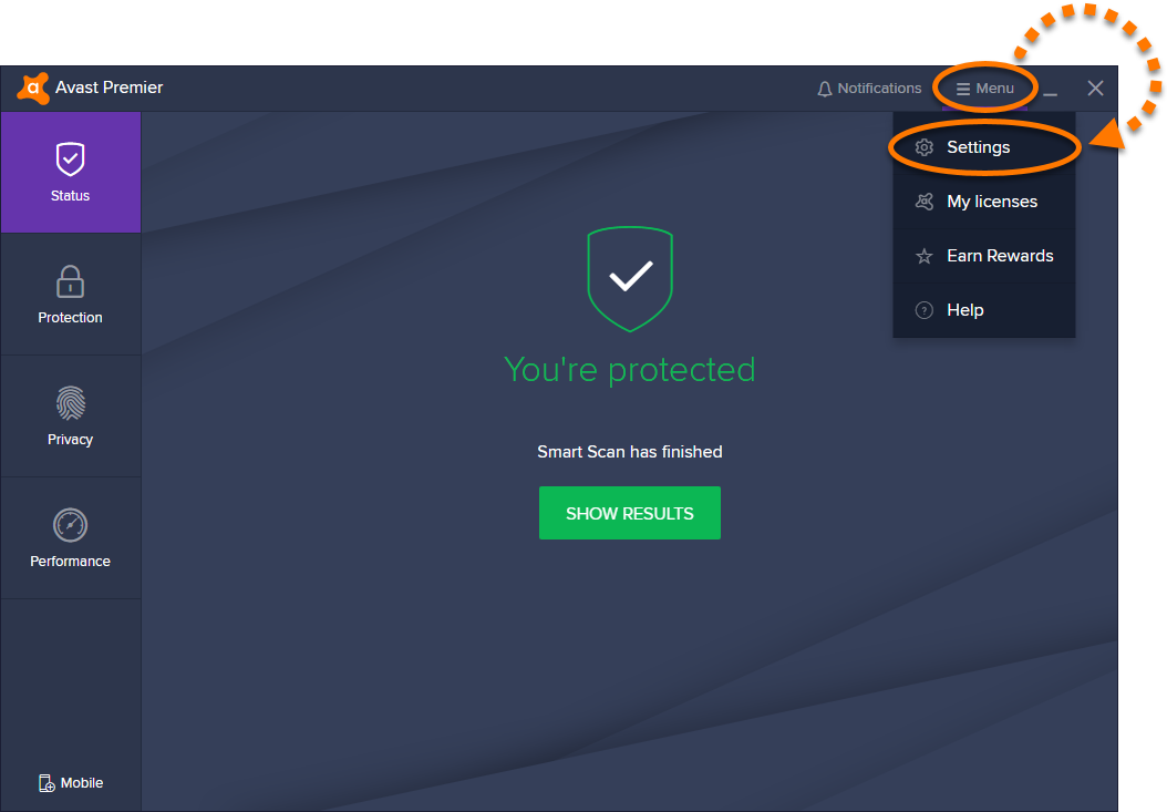 Open Avast Settings