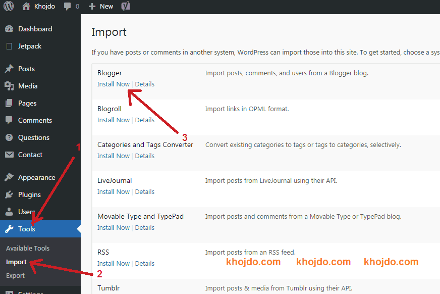 export and transfer blogger to WordPress