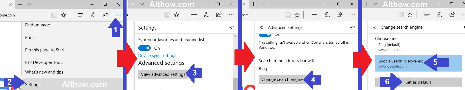 Change Edge Default Search Engine