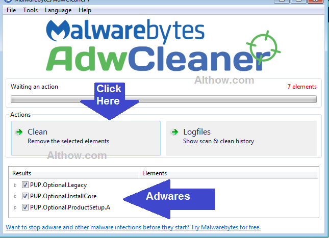 Click Clean to remove Adware