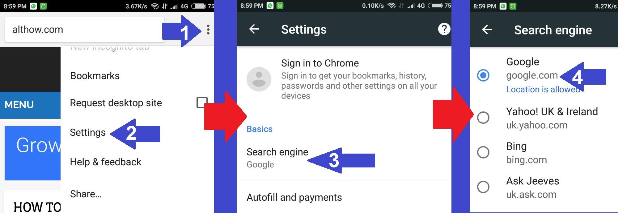 Default Search Engine Chrome Mobile