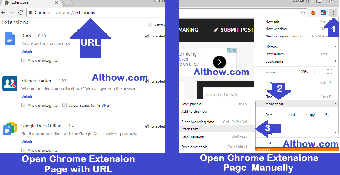 Methods to open Chrome Extensions page