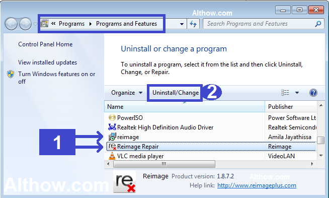 uninstall unwanted programs