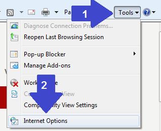 open Internet options
