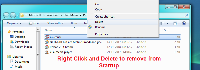 Right Click and remove startup programs in windows 7