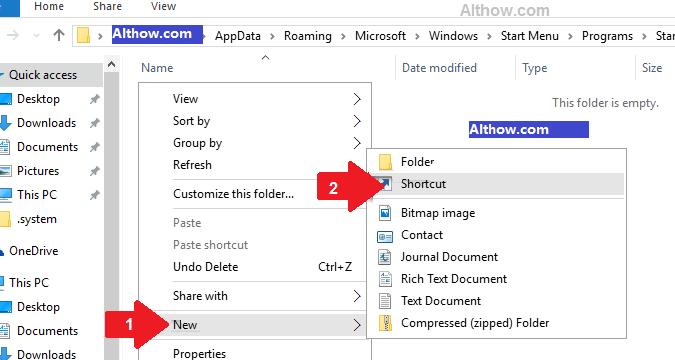 add shortcut to startup windows 10