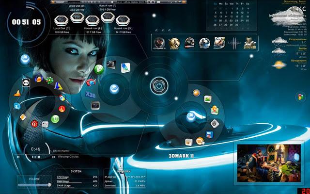 Tron Legacy 3D desktop Theme