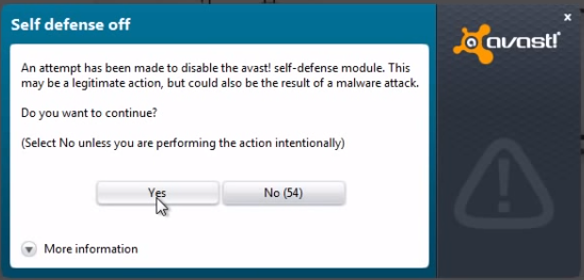 Disable avast self defense