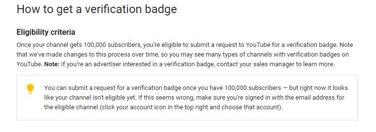 Eligibility criteria to get verified badge on youtube