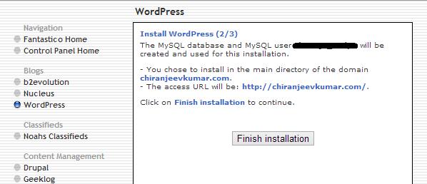 Finish Installation Button