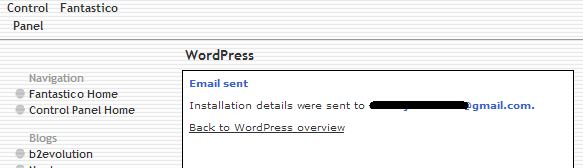 Wordpress installed sucessfully