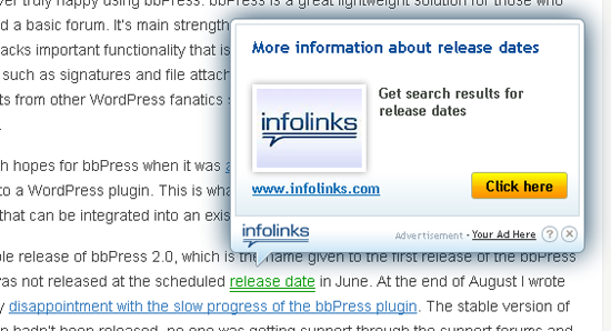 Infolinks shows