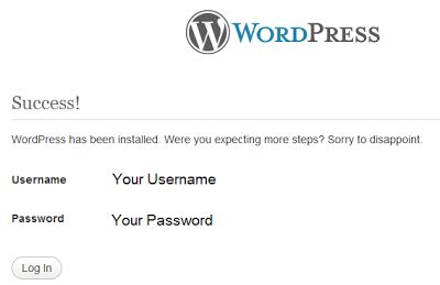 manual wordpress installation completed