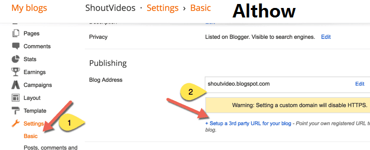 Setup a 3rd party URL for your blogspot blog