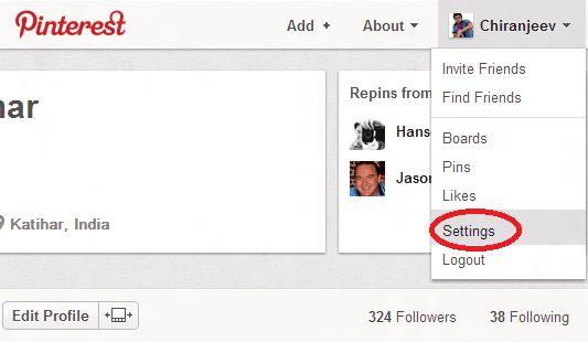 Verify blogger on pinterest