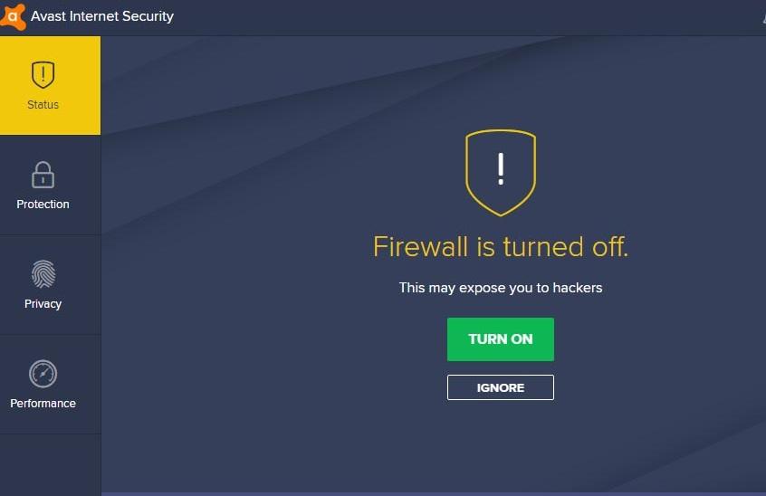 avast 2018 firewall turned off