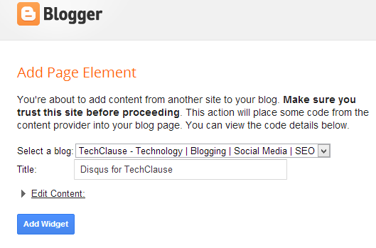 install disqus widget to blogger