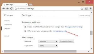 Manage and view passwords in chrome