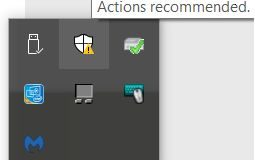 Windows Defender Actions recommended